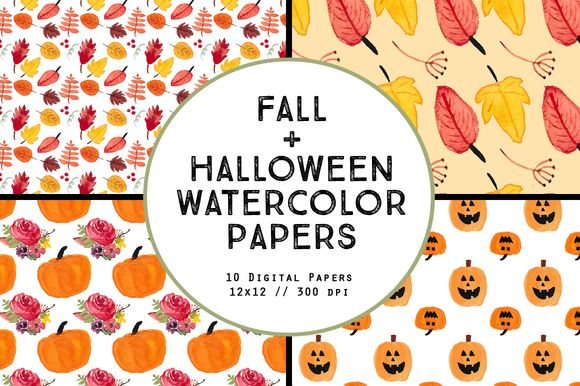 Watercolor Fall Halloween Papers by BellaLoveLetters is available from CreativeMarket for $5.
