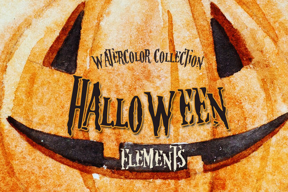 Watercolor Halloween Elements by LembrikArtworks is available from CreativeMarket for $9.