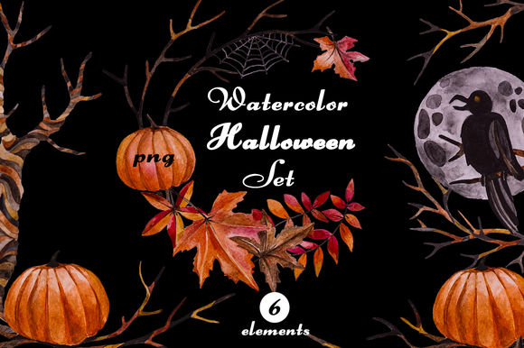 Watercolor Halloween Set by LidiaP is available from CreativeMarket for $12.
