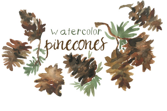 Watercolor Pinecones Clip Art by DigitalPressCreation is available from CreativeMarket for $15.