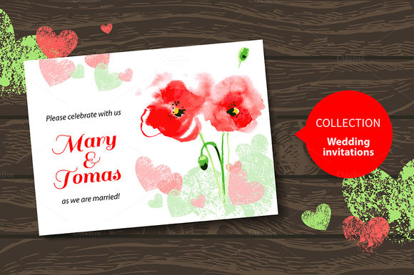 Watercolor Poppy Wedding Invitations by ElenaPimonova is available from CreativeMarket for $4.