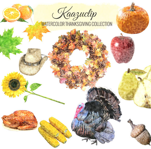 Watercolor Thanksgiving Collection by Kaazuclip is available from CreativeMarket for $5.