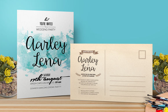 Watercolor Wedding Invitation by AarleyKaiven is available from CreativeMarket for $9.