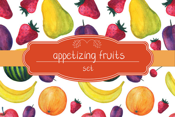 Watercolor Fruits Set by MarinaZabrodina is available from CreativeMarket for $8.