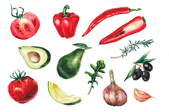 Watercolor Vegetables Collection by Lenavetka87 is available from CreativeMarket for $15.