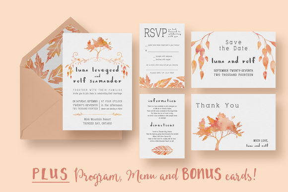Watercolour Tree Wedding Suite by KnottedDesign is available from CreativeMarket for $20.