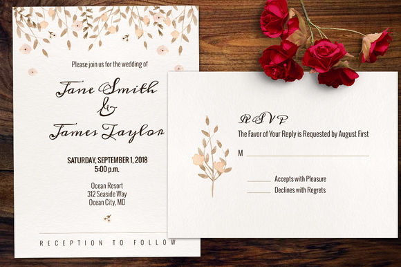 Watercolour Wedding Invitation by Webvilla is available from CreativeMarket for $8.