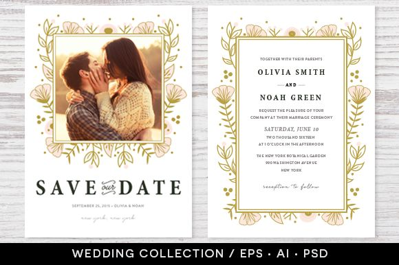 Wedding Invitation Collection Design by Pixejoo is available from CreativeMarket for $13.