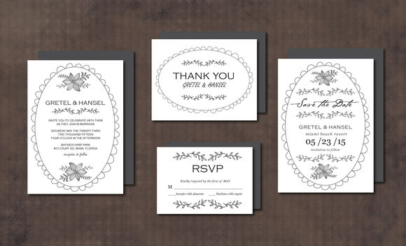 Wedding Invitation Suite DoodleFrame by Aticnomar is available from CreativeMarket for $15.