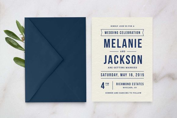 Wedding Invitation Template by HitchPaperCo. is available from CreativeMarket for $12.