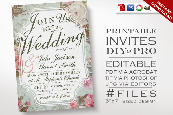 Wedding Invitation by PurveyorofGeekery is available from CreativeMarket for $9.