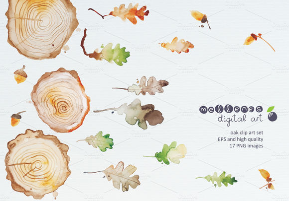 Oak Clip Art by Mellenes is available from CreativeMarket for $7.