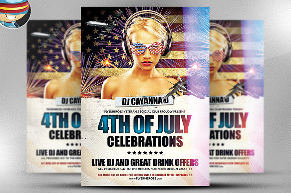 4th July Flyer Template by FlyerHeroes is available from CreativeMarket for $9.