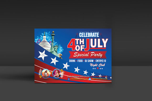 4th Of July Party Flyer Template by MadhabiStudio is available from CreativeMarket for $7.