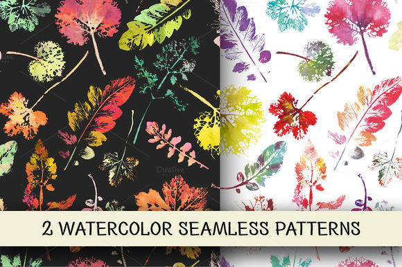 Watercolor Leaves Patterns by Kizi is available from CreativeMarket for $5.