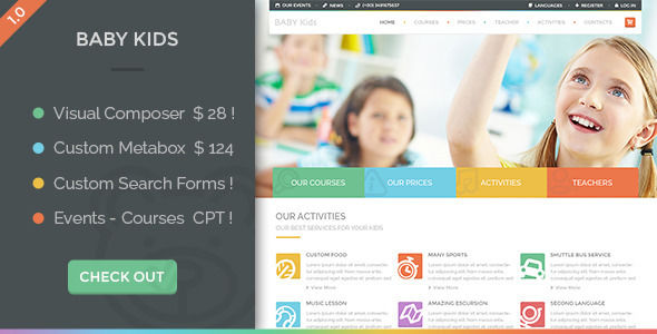 Baby Kids by Nicdark is a WordPress theme for colleges and universities which features Retina display support, parallax elements, Mega Menu, fully responsive layouts, Google Fonts support, Revolution Slider, WooCommerce integration, clean design, Colorful, masonry post layouts and a grid layout.