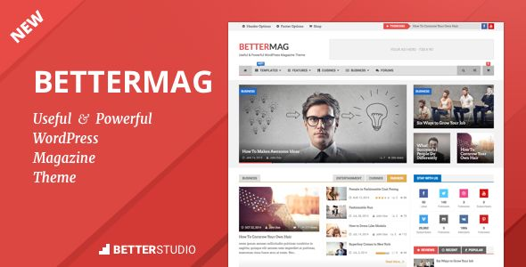 BetterMag by Better-Studio is a news magazine WordPress theme which features Retina display support, support for RTL languages, Mega Menu, fully responsive layouts, search engine optimization, Google Fonts support, Revolution Slider, WooCommerce integration, clean design, Bootstrap framework utilization, magazine style layouts, is great for your personal site and Colorful.