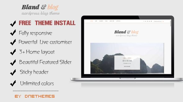 Bland And Blog WordPress Theme by Dnbthemes is a great new WordPress theme which features fully responsive layouts, clean design and a grid layout.
