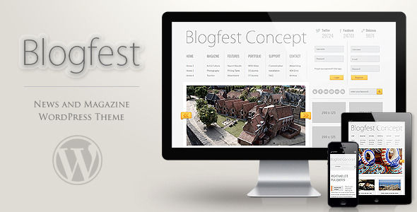 Blogfest WordPress Magazine News And Blog Theme by Readactor is a news magazine WordPress theme which features fully responsive layouts, Google Fonts support, clean design, can be used for your portfolio and magazine style layouts.