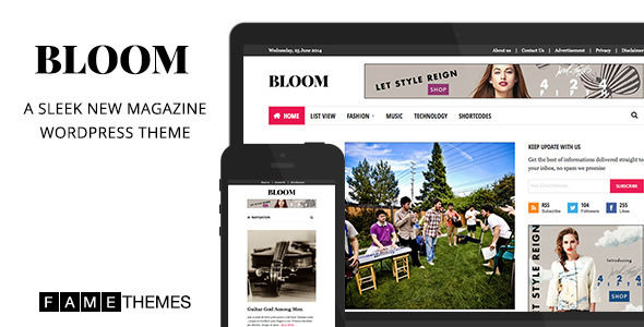 Bloom by FameLabs is a news magazine WordPress theme which features fully responsive layouts, search engine optimization, clean design, magazine style layouts and a grid layout.