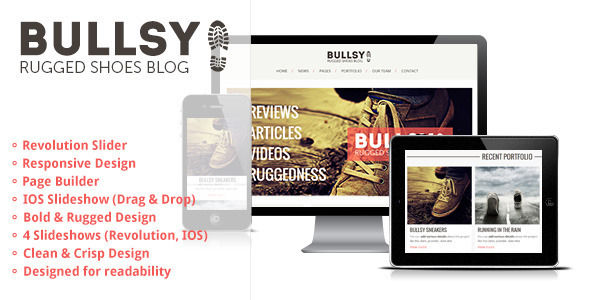 Bullsy by Gljivec is a news magazine WordPress theme which features fully responsive layouts, search engine optimization, retro, Google Fonts support, Revolution Slider, WooCommerce integration, clean design, support for photo galleries, can be used for your portfolio, magazine style layouts, is great for your personal site, bold design elements and minimal design.