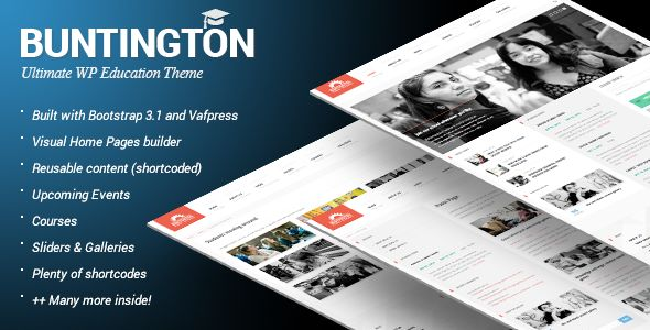 Buntington by Feeleep is a educational WordPress theme which features Retina display support, fully responsive layouts, Revolution Slider, clean design and Bootstrap framework utilization.