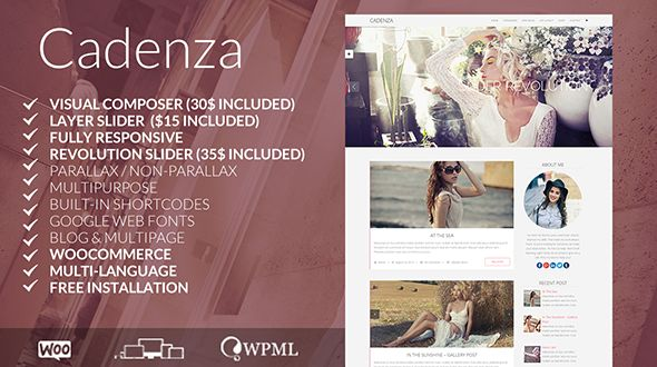 CADENZA by Bricktheme is a great new WordPress theme which features support for RTL languages, one page layouts, fully responsive layouts, search engine optimization, Google Fonts support, clean design, Bootstrap framework utilization, support for photo galleries, can be used for your portfolio, is great for your personal site, a grid layout and minimal design.