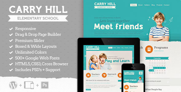 Carry Hill School by Aislin is a educational WordPress theme which features support for RTL languages, fully responsive layouts, Google Fonts support, Revolution Slider, can be used for your portfolio and Colorful.