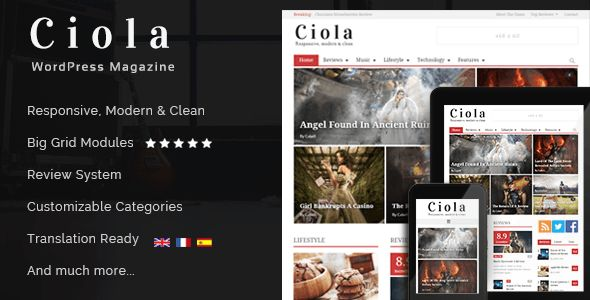 Ciola by Cubell is a news magazine WordPress theme which features fully responsive layouts, search engine optimization, clean design, magazine style layouts, a grid layout and minimal design.