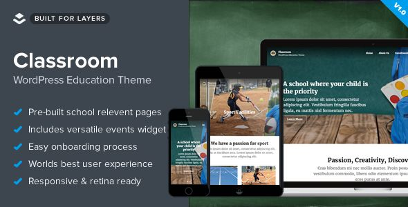 Classroom by Obox is a educational WordPress theme which features support for RTL languages, fully responsive layouts, search engine optimization, Google Fonts support and WooCommerce integration.