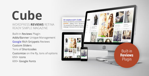 Cube by Mimo is a news magazine WordPress theme which features fully responsive layouts, Google Fonts support, Bootstrap framework utilization, support for photo galleries, magazine style layouts, is great for your personal site, flat design aesthetics, a grid layout and minimal design.