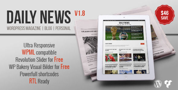 DAILYNEWS by BigBangThemes is a news magazine WordPress theme which features fully responsive layouts, Revolution Slider, clean design, Bootstrap framework utilization, can be used for your portfolio, magazine style layouts and is great for your personal site.