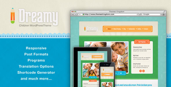 Dreamy by Themeskingdom is a educational WordPress theme which features fully responsive layouts, clean design and Colorful.