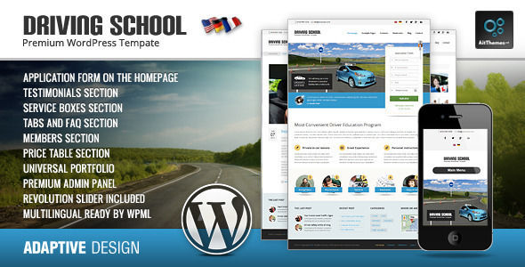 Driving School by Ait is a educational WordPress theme which features fully responsive layouts, Revolution Slider, WooCommerce integration, can be used for your portfolio, magazine style layouts, is great for your personal site, corporate style visuals and a grid layout.