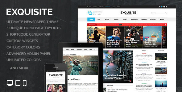 Exquisite by Fuelthemes is a news magazine WordPress theme which features fully responsive layouts, Google Fonts support and magazine style layouts.