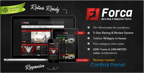 Forca by Orange-themes is a news magazine WordPress theme which features Retina display support, fully responsive layouts, search engine optimization, Google Fonts support, Revolution Slider, WooCommerce integration, clean design, magazine style layouts, blogging related layouts and optimizations, flat design aesthetics and minimal design.