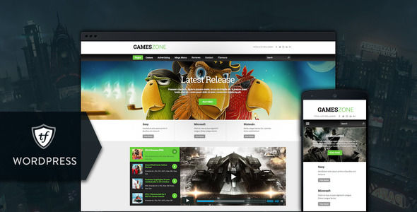 Games Zone by ThemeFuse is a news magazine WordPress theme which features Retina display support, Mega Menu, fully responsive layouts, search engine optimization, Google Fonts support, magazine style layouts, corporate style visuals and blogging related layouts and optimizations.