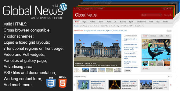 Global News Portal by Mad_velikorodnov is a news magazine WordPress theme which features fully responsive layouts, search engine optimization, WooCommerce integration, clean design, can be used for your portfolio, corporate style visuals, flat design aesthetics and a grid layout.