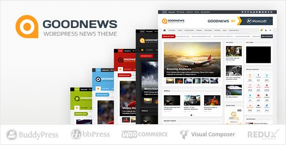 Goodnews by Momizat is a news magazine WordPress theme which features Retina display support, support for RTL languages, Mega Menu, fully responsive layouts, search engine optimization, Google Fonts support, Revolution Slider, WooCommerce integration, can be used for your portfolio, magazine style layouts and a grid layout.