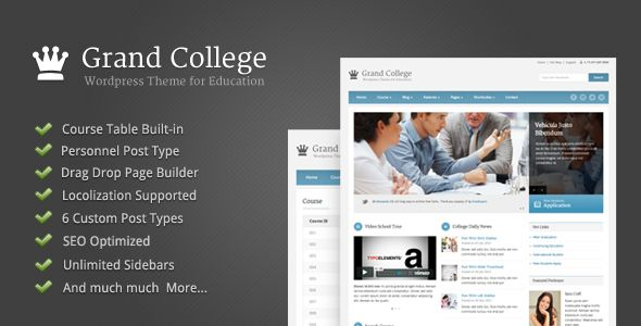 Grand College by GoodLayers is a WordPress theme for colleges and universities which features search engine optimization, Revolution Slider, clean design and has a portfolio layout option.