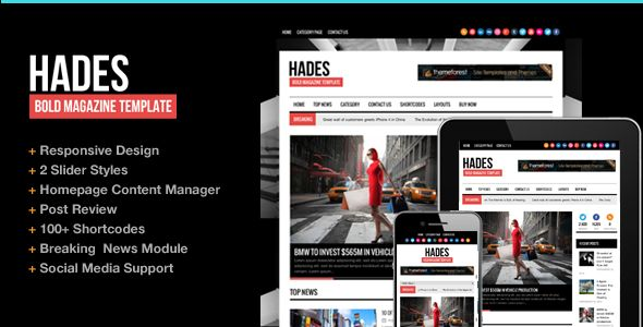 Hades Bold Magazine Newspaper Template by ThemeGoods is a news magazine WordPress theme which features support for RTL languages, fully responsive layouts, clean design, magazine style layouts, is great for your personal site and bold design elements.