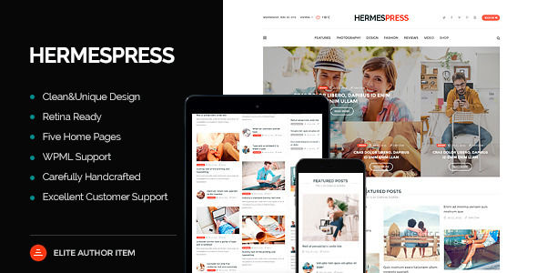 HermesPress by WebLionMedia is a news magazine WordPress theme which features Retina display support, parallax elements, support for RTL languages, Mega Menu, one page layouts, fully responsive layouts, search engine optimization, Revolution Slider, WooCommerce integration, clean design, magazine style layouts, bold design elements and a grid layout.