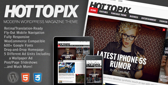 Hot Topix by MVPThemes is a news magazine WordPress theme which features Retina display support, support for RTL languages, fully responsive layouts, search engine optimization, Google Fonts support, WooCommerce integration, clean design, magazine style layouts and is great for your personal site.