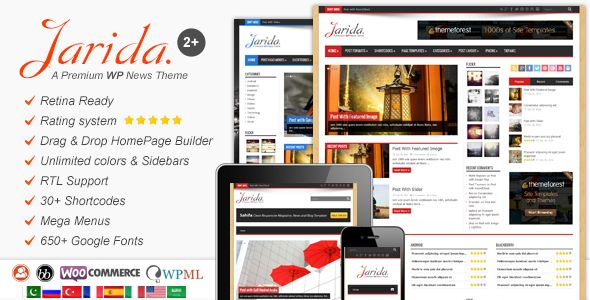 Jarida by TieLabs is a news magazine WordPress theme which features Retina display support, support for RTL languages, Mega Menu, fully responsive layouts, search engine optimization, Google Fonts support, Revolution Slider, WooCommerce integration, clean design, can be used for your portfolio, magazine style layouts and flat design aesthetics.