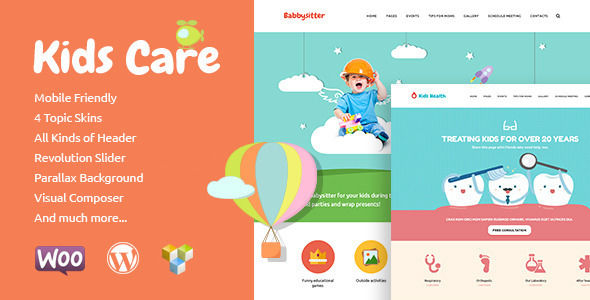 Kids Care by Axiomthemes is a educational WordPress theme which features Retina display support, parallax elements, support for RTL languages, fully responsive layouts, search engine optimization, Google Fonts support, Revolution Slider and WooCommerce integration.
