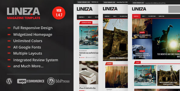 Lineza by BloomPixel is a news magazine WordPress theme which features support for RTL languages, fully responsive layouts, search engine optimization, Google Fonts support, WooCommerce integration, clean design and magazine style layouts.
