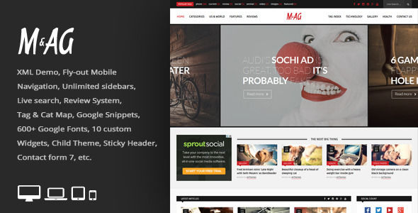 MAG by An-Themes is a news magazine WordPress theme which features fully responsive layouts, search engine optimization, Google Fonts support, clean design, support for photo galleries, magazine style layouts, is great for your personal site, masonry post layouts and a grid layout.