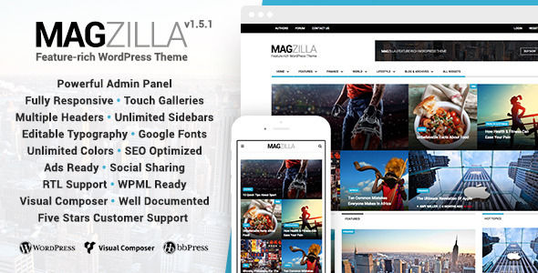 MagZilla by Favethemes is a news magazine WordPress theme which features support for RTL languages, fully responsive layouts, search engine optimization, clean design, Bootstrap framework utilization, magazine style layouts, is great for your personal site, corporate style visuals, flat design aesthetics and minimal design.