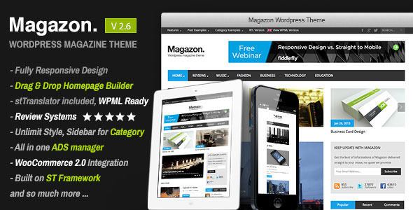 Magazon by SmoothThemes is a news magazine WordPress theme which features support for RTL languages, one page layouts, fully responsive layouts, Google Fonts support, Revolution Slider, WooCommerce integration, clean design, support for photo galleries, magazine style layouts and is great for your personal site.