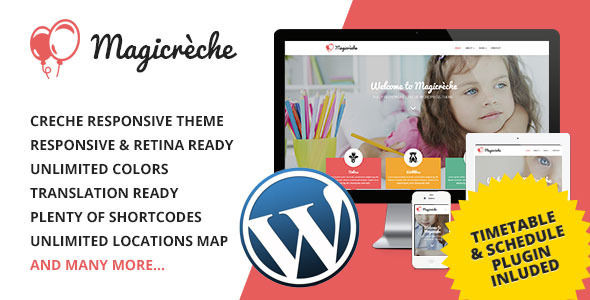 Magicreche by Coffeecream is a educational WordPress theme which features Retina display support, support for RTL languages, one page layouts, fully responsive layouts, Google Fonts support, Bootstrap framework utilization, flat design aesthetics and minimal design.